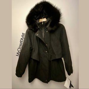 Anorak Jacket FOX FUR Hood Coat Parka Black S NWT
